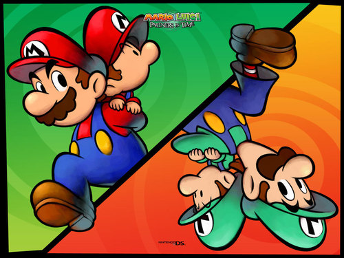 Super Mario Bros. wallpaper containing anime entitled Mario & Luigi