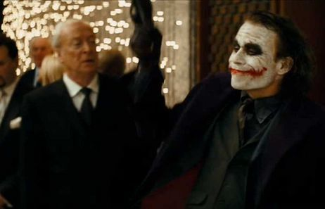 Michael Caine with the Joker