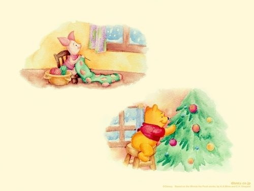 Winnie l'ourson fond d'écran entitled Pooh & Piglet Christmas