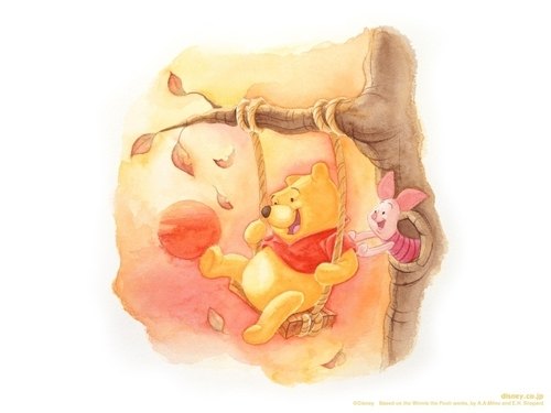 winnie the pooh wallpaper with a bouquet and a rose entitled Pooh & Piglet