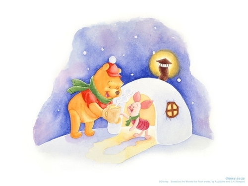 Winnie the Pooh wolpeyper possibly containing a cap, a hot tub, and a neonate called Pooh & Piglet