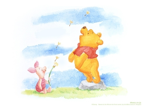Winnie the Pooh achtergrond possibly containing anime titled Pooh & Piglet