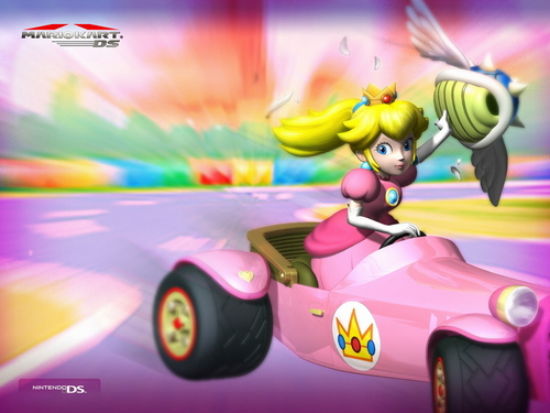 Mario Kart 바탕화면 probably with a stock car and an auto racing called Princess 복숭아