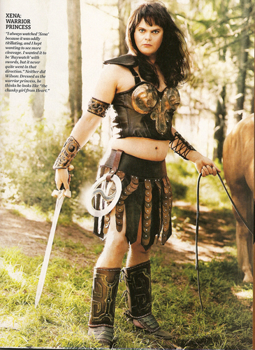 Rainn Wilson wallpaper probably with a horse trail, a horse wrangler, and a lippizan entitled Rainn as Xena in Entertainment Weekly Scan