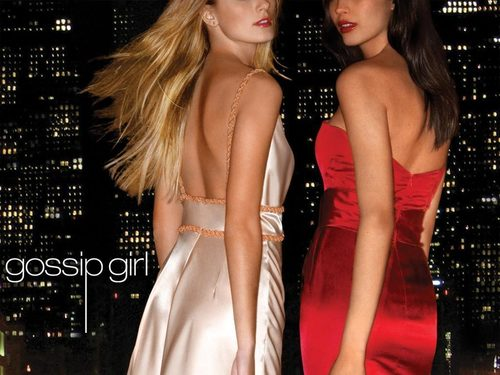 Girls of Gossip Girl 壁纸 probably containing a 晚餐 dress and a 鸡尾酒 dress called Serena and Blair