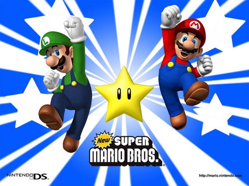 Super Mario Bros. wallpaper probably containing anime entitled Super Mario Brothers - Star
