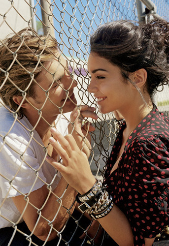 Zac Efron wallpaper containing a chainlink fence titled Zanessa Elle Magazine Photoshoot