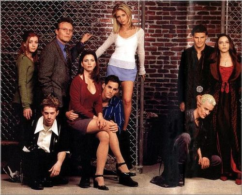 Buffy the Vampire Slayer wallpaper containing a business suit and a well dressed person entitled Buffy Cast