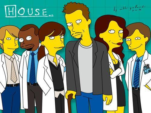 House M.D. kertas dinding with Anime entitled House The Cast (Simpsons)