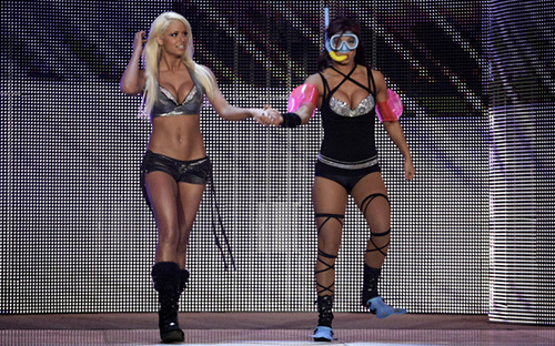 WWE Divas wallpaper possibly containing a leotard and tights entitled Maryse & Victoria
