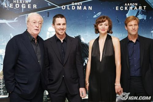 Michael Caine with other Dark Knight stars