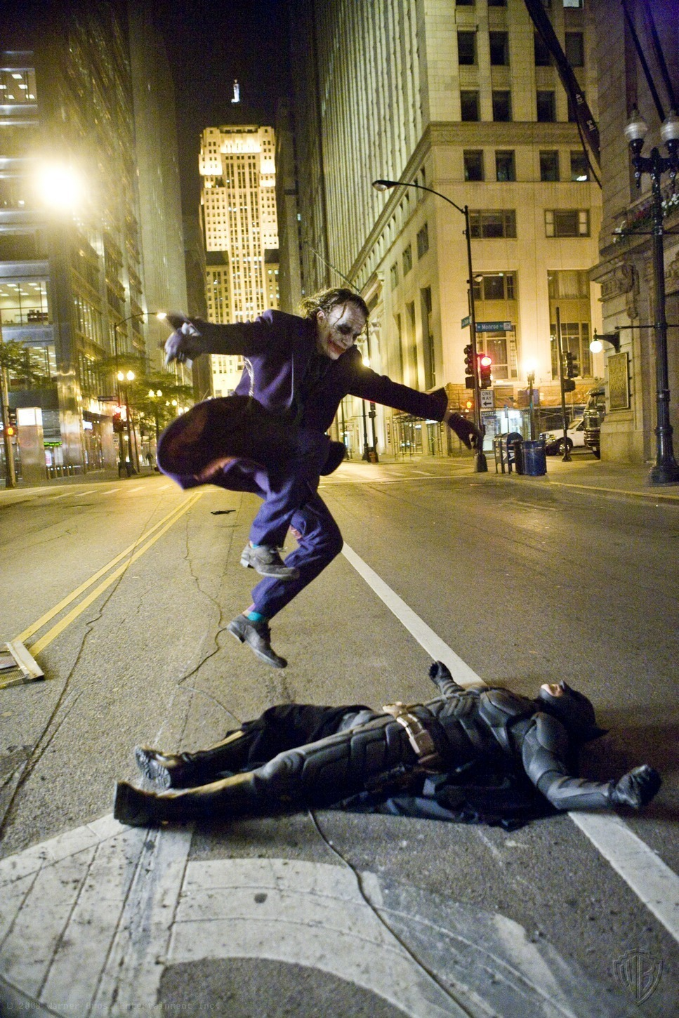 Heath Ledger Skateboarding Over Batman