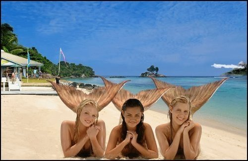 girls on the beach - h2o-mermaids photo