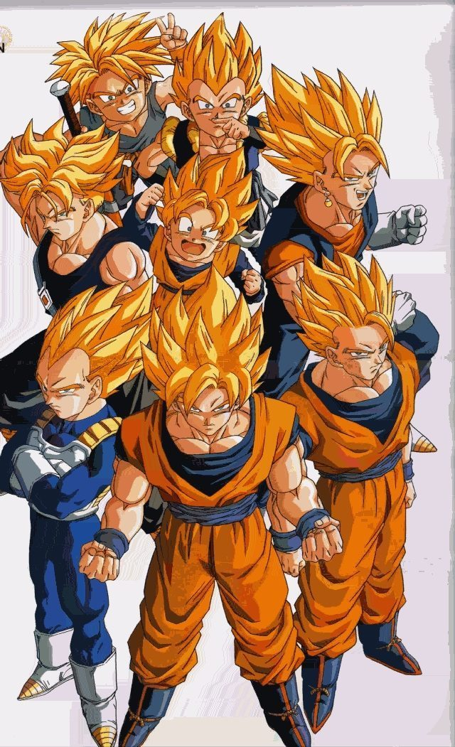 super saiyans without broly and gogeta - Dragon Ball Z 640x1051