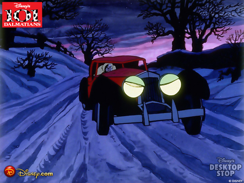 Cruella DeVil 壁纸 probably with a snowbank and 雪橇 titled Cruella's car