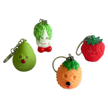 水果 and Vegetable Keychains