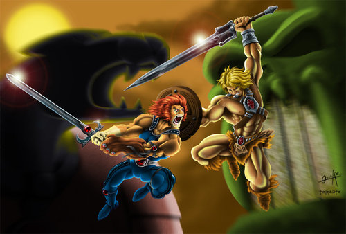 Lion-O vs. He-Man - thundercats Fan Art
