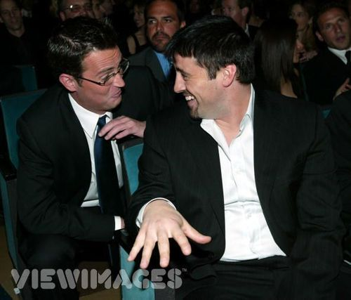 Joey & Chandler wallpaper containing a business suit, a suit, and a two piece entitled Matthew Perry & Matt LeBlanc