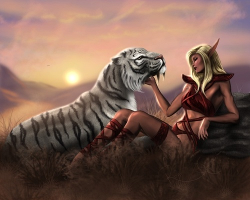 Resting with a Friend - fantasy Photo