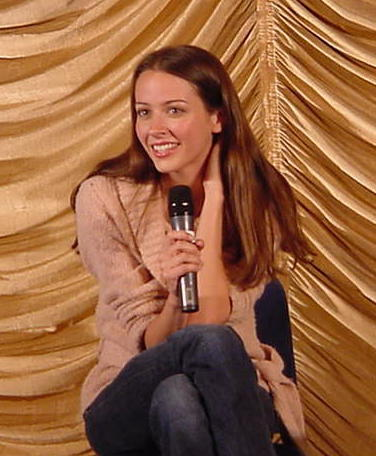 Amy Acker achtergrond possibly containing a well dressed person titled amy at angel convention