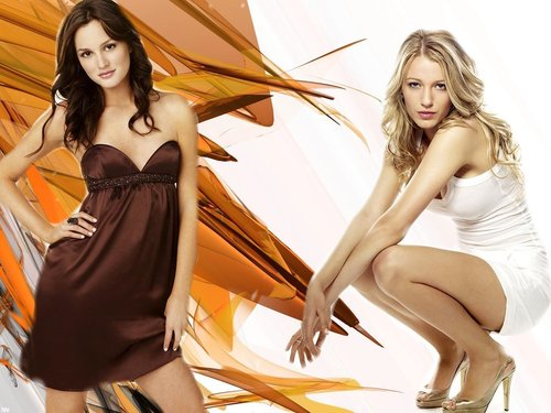 Gossip Girl wallpaper containing a cocktail dress titled blair and serena