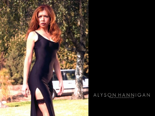 Alyson Hannigan kertas dinding possibly with tights and a leotard entitled Aly