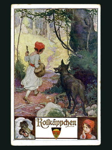 Red Riding cappuccio postcard