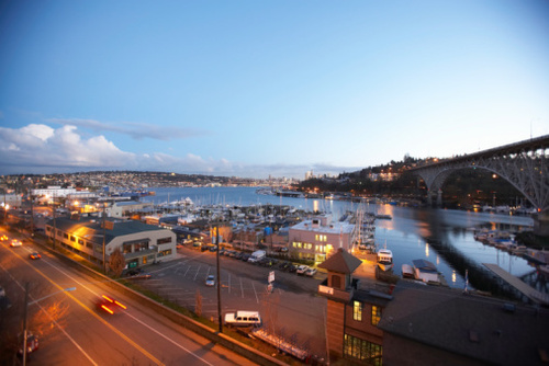 Lake Union and Aurora Bridge, Dusk