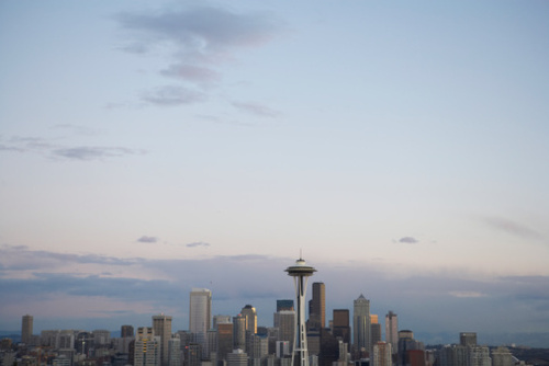 Seattle Skyline, Dusk, Elevated View