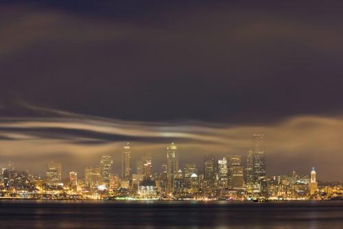 Seattle Skyline With Firework Smoke, Dusk