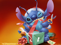 Stitch Wrapping Present  - lilo-and-stitch wallpaper