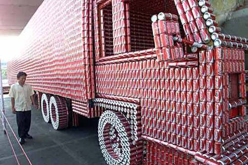 Coke wallpaper probably with a railroad tunnel called Truck made of coke cans