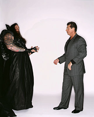 Professional Wrestling Hintergrund with a business suit, a well dressed person, and a suit entitled Undertaker & Vince McMahon