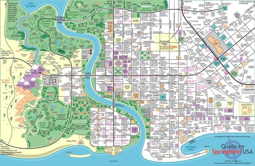 Les Simpsons fond d'écran titled a full map of springfield