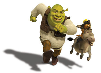film wallpaper entitled shrek the fourth photos: shrek, puss and donkey