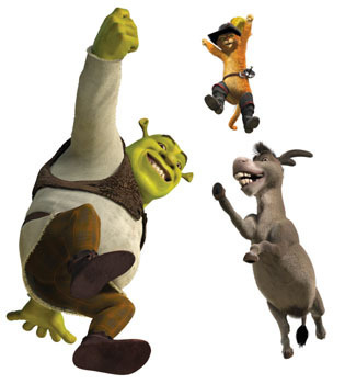 film wallpaper titled shrek the fourth photos: shrek, puss and donkey