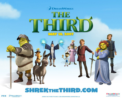 sinema karatasi la kupamba ukuta probably with anime called Shrek the third