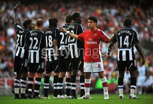 Cesc Fabregas Hintergrund probably with a fullback, a Fußball player, and a tight end entitled Arsenal vs. Newcastle United, Aug 31 2008
