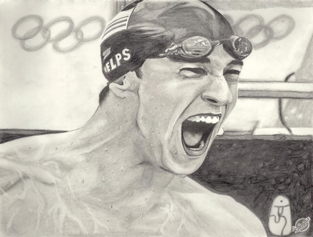 Charcoal portrait of Phelps