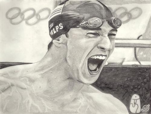 Michael Phelps wallpaper entitled Charcoal portrait of Phelps