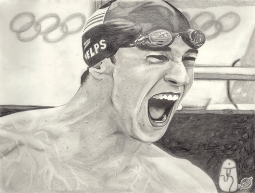 Charcoal portrait of Phelps