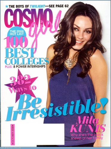 Mila Kunis achtergrond possibly containing a portrait entitled CosmoGirl scans