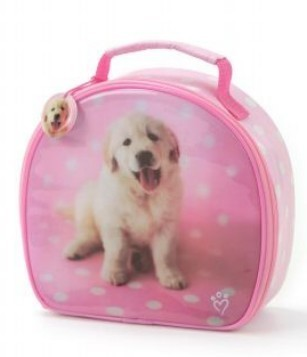 Lunch Boxes karatasi la kupamba ukuta possibly containing a golden retriever called Cute puppy lunchbox