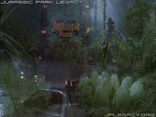 Jurassic Park پیپر وال probably containing a sitka spruce, a street, and a mahogany titled JP پیپر وال (part 3)