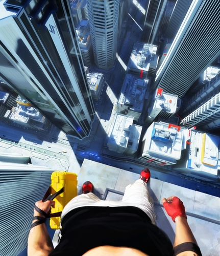 Mirror's Edge wallpaper probably containing a sign, a street, and a carriageway titled Long way down