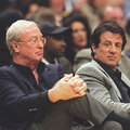 Michael Caine and Sylvester Stallone at Lakers Game