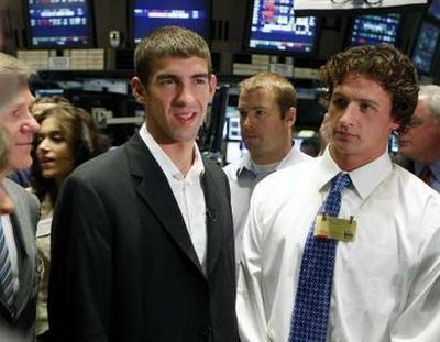 Michael Phelps wallpaper probably containing a business suit called Michael Phelps @ NYSE