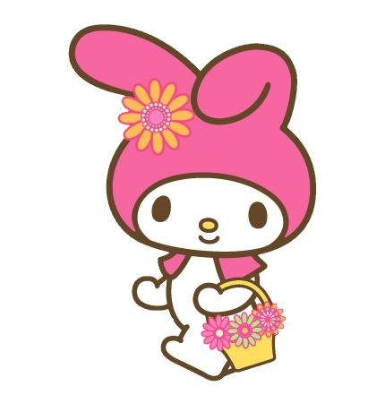 お花を持ったサンリオキャラクターマイメロディの壁紙