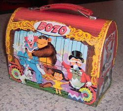 Lunch Boxes wallpaper containing a treasure chest titled Vintage 1963 Bozo the Clown Dome Lunch Box