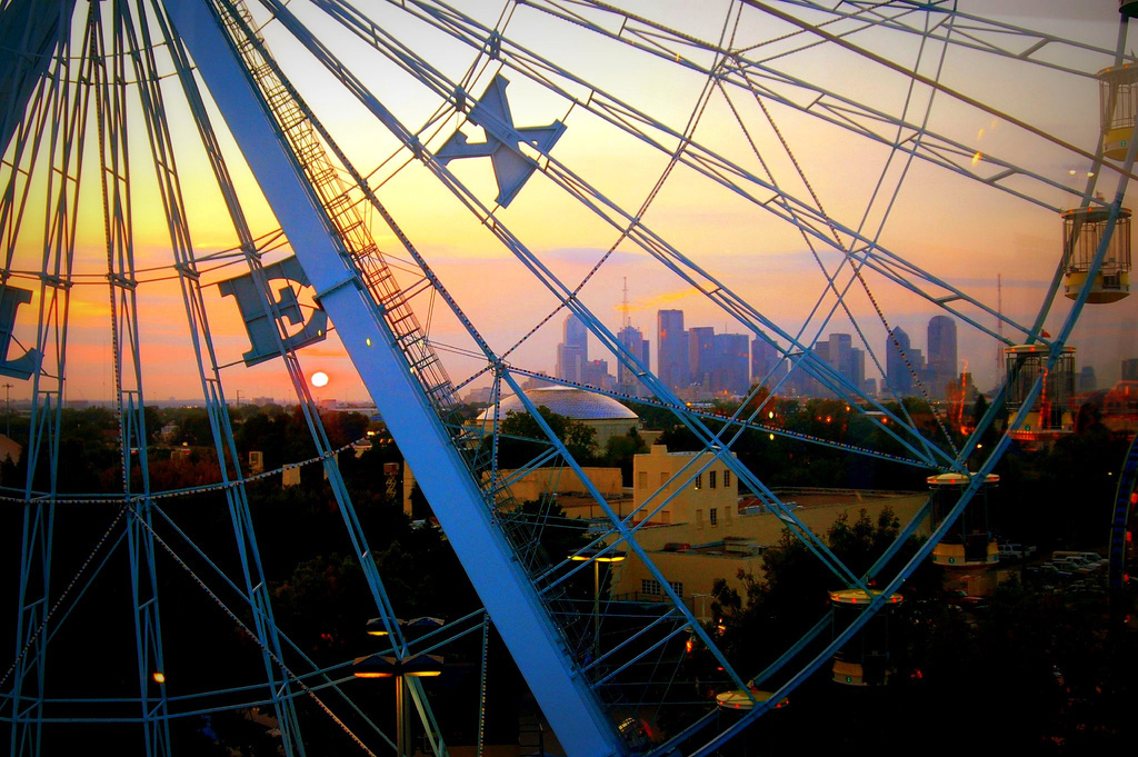 The State Fair of Texas Ferris Wheel & Dallas Skyline